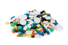 Samling av färgrika preventivpillerar Royaltyfria Bilder