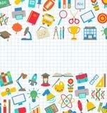 Samling av färgrika symboler för skola, tapet för skola Royaltyfri Fotografi