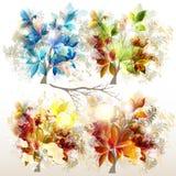 Samling av färgrika träd för vektor för design Arkivbilder