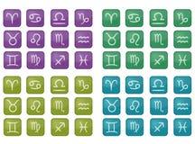 Samling av färgrika zodiaksymboler (vektorn) royaltyfri illustrationer