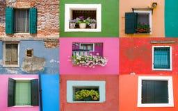 Samling av fönster på kulöra väggar royaltyfria foton
