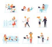 Samling av föräldrar som arbetar med deras barn medan deras spela bredvid dem, mödrar och fäder som arbetar med stock illustrationer