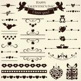 Samling av förälskelsedesignbeståndsdelar. Vektorillustr stock illustrationer