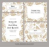 Samling av för bröllopinbjudan för modern design kort Spara Det vektor illustrationer