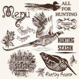 Samling av för djurjakt för vektor den hand drog designen för säsong stock illustrationer