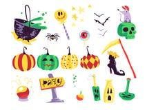 Samling av för halloween för plan vektor som beståndsdelar traditionella garnering isoleras på vit bakgrund royaltyfri illustrationer