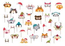 Samling av för maskerings- och julfotobås för vinter djura stöttor för ungar Gulliga tecknad filmmaskeringar och beståndsdelar fö stock illustrationer