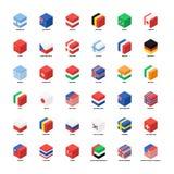 Samling av för symbolslägenhet för nationsflaggor den isometriska designen royaltyfri illustrationer