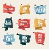 Samling av försäljningsbaner Beståndsdelar för Promoskyddsremsadesign Isolerad vektor royaltyfri illustrationer