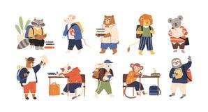 Samling av förtjusande djurstudenter eller elever som studerar, handstil, läseböcker tillbaka skola som st?lls in till flygarebj? stock illustrationer