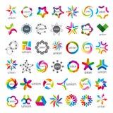 Samling av fackliga vektorlogoer vektor illustrationer