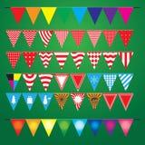 Samling av festliga dekorativa flaggor för ferien royaltyfri illustrationer