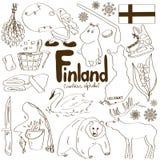 Samling av Finland symboler Royaltyfri Bild