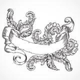 Samling av fjädrar och bandbanret Tappninguppsättning av den svartvit hand drog tatueringdesignbeståndsdelen Vektorillustr Arkivbild