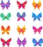 Samling av fjärilssymboler och symboler Arkivfoton