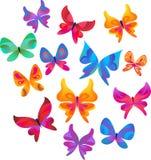 Samling av fjärilssymboler och symboler Arkivfoto