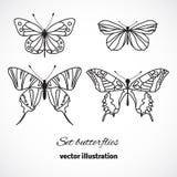 Samling av fjärilar som isoleras på vit bakgrund. Vektor Fotografering för Bildbyråer