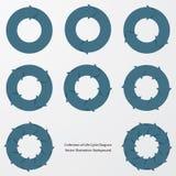 Samling av flöden för cirkel för blåttfärgpil royaltyfri illustrationer