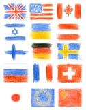 Samling av flaggor Arkivbilder