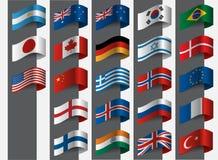 Samling av flaggor. Vektordesign. vektor illustrationer