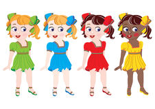 Samling av flickor av olika nationalities in Arkivfoto
