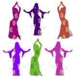Samling av flickor som dansar, orientalisk dans, i mång--färgad dr stock illustrationer