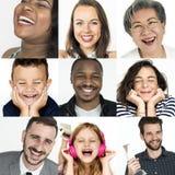 Samling av folk med att le festlig lycka royaltyfri bild