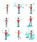 Samling av folk som spelar videospelet i virtuell verklighet med VR-hörlurar med mikrofon, person som använder virtuallizationtek vektor illustrationer