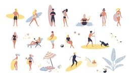Samling av folk som utför utomhus- aktiviteter för sommar på stranden - solbada och att gå, bärande surfingbräda som simmar stock illustrationer