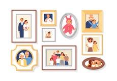 Samling av foto av familjemedlemmar eller släktingar och händelser i ramar Packe av inramade väggbilder eller fotografier royaltyfri illustrationer