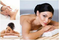 Samling av foto med kvinnor som har olika typer av massagen Spa, wellness, läka, föryngring, hälsovård och royaltyfri bild