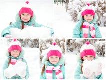 Samling av foto som ler den gulliga lilla flickan Arkivbilder