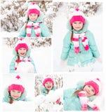 Samling av foto som ler den gulliga lilla flickan Arkivbild