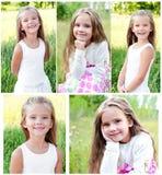 Samling av foto som ler den gulliga lilla flickan Royaltyfria Foton
