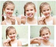 Samling av foto som ler den gulliga lilla flickan som borstar tänder royaltyfri fotografi