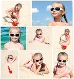 Samling av foto som ler gullig liten gir Fotografering för Bildbyråer