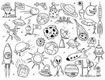 Samling av främlingar, ufo och utrymmeklotter stock illustrationer