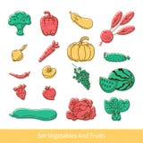 Samling av frukt och grönsaker Arkivfoto