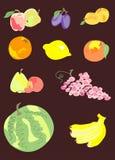 Samling av frukter Arkivbilder