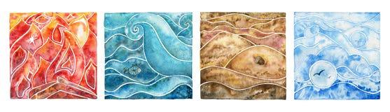 Samling av fyra naturliga beståndsdelar: brand, vatten, luft och jord vektor illustrationer
