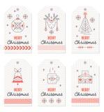 Samling av gåvaetiketter för nytt år och jul royaltyfri illustrationer