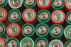 Samling av gamla batterier Arkivfoton