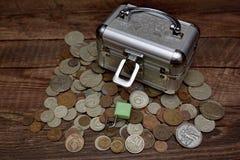 Samling av gamla sovjetiska mynt, Royaltyfria Bilder