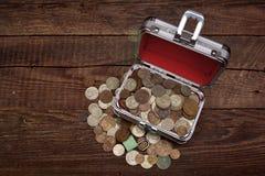 Samling av gamla sovjetiska mynt, moneybox Royaltyfria Foton