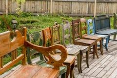 Samling av gamla stolar Royaltyfri Bild