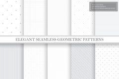 Samling av geometriska enkla s?ml?sa vektormodeller - gr?a prickiga och randiga texturer stock illustrationer