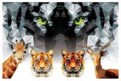 Samling av geometriska polygondjur, tiger, giraff Royaltyfria Bilder