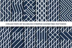 Samling av geometriska randiga sömlösa vektormodeller Klassisk rasterdesign royaltyfri illustrationer