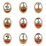 Samling av ägg med den lyckliga framsidan (no.5) Arkivfoton