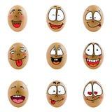 Samling av ägg med den lyckliga framsidan (no.6) Royaltyfri Foto